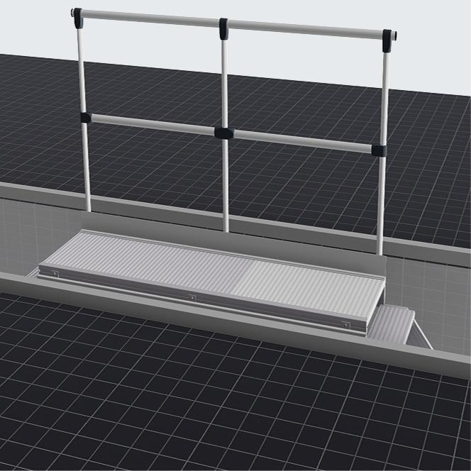 Fahrbarer Grubenpodest mit einseitigem Geländer